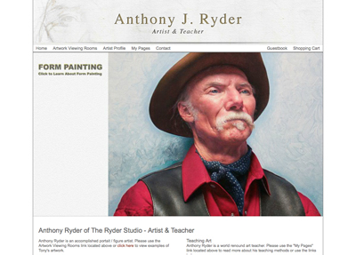 Fine Art Website Example - Artist Anthony Ryder